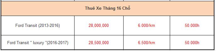 Bảng giá thuê xe theo tháng 16 chỗ hà nội đà nẵng